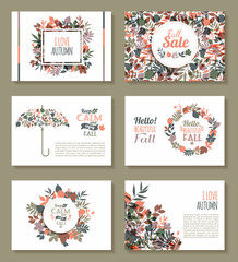 Fall set. Medal and leaves composition.Banners of autumn season.