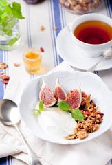 Honey glazed oat granola with figs and yogurt