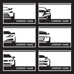 collection of six monochrome car labels
