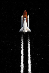 Space shuttle taking off on a mission. Elements of this image