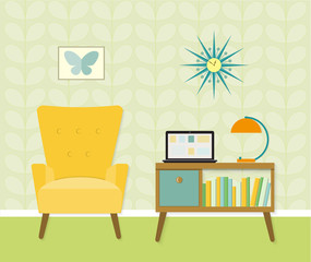 Bookcase and chair with lamp. Flat style vector illustration.
