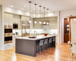 Beautiful kitchen interior with island, sink, stainless steel appliances, hardwood floor, and pendant lights in new luxury home