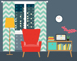flat place for reading in living room with chair and bookcase. vector illustration
