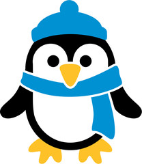Penguin with cap and scarf cartoon