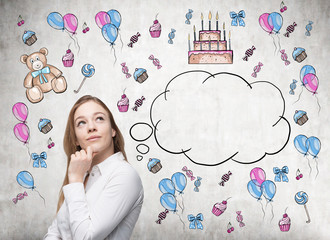 Astonishing lady is dreaming about her birthday. Birthday icons and an empty thoughts bubble are drawn on the concrete wall.