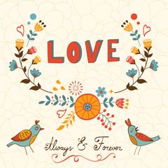 Elegant love card with birds