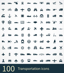 transportation 100 icons universal set