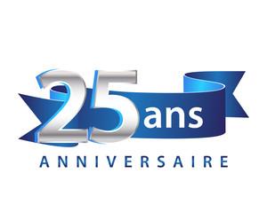 25 Ruban Bleu logo Anniversaire