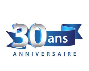 30 Ruban Bleu logo Anniversaire