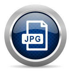jpg file blue circle glossy web icon on white background, round button for internet and mobile app