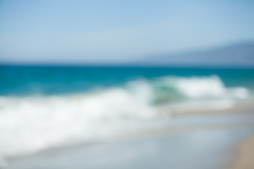 Blur beautiful tropical beach. Blurred travel background.