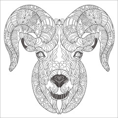 Ornamental head of goat or ram.