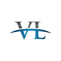 VL initial company swoosh logo blue