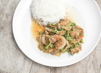 Basil Fried Rice with stir fried crispy Pork, Thai famous food
