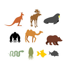Set of wild animals on  white background. Silhouettes of Animals