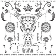 Collection boho elements: arrows, ornaments, skull bull, for car