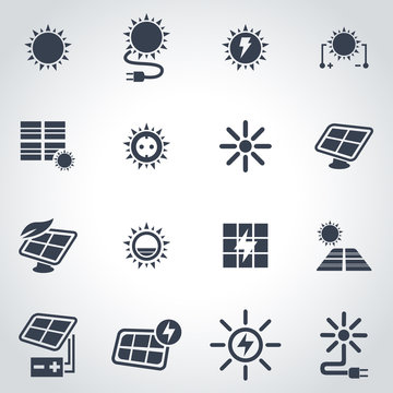 Vector black solar energy icon set