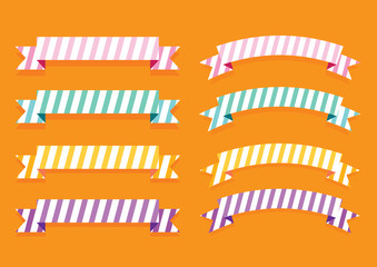 colorful ribbon banner label illustration vector collection set