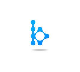 blue molecule logo initial letter b