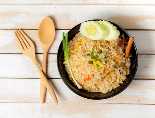 Fried Rice Thailand  and Vegetables on wood table