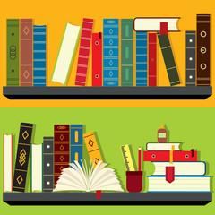 Bookshelf illustration set