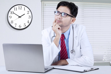 Doctor thinking idea in the clinic