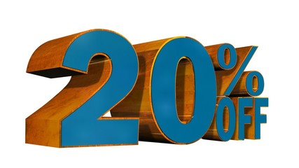20 percent off - 3D text on white background
