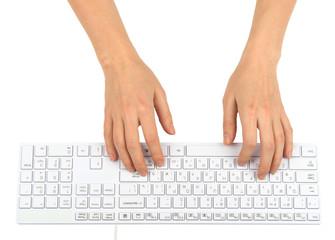 Humans hands using keyboard