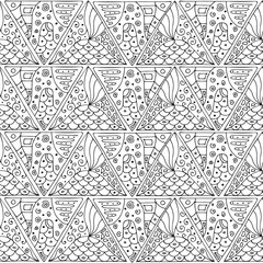 Seamless black-and-white pattern of triangles in the style zentangle