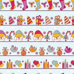 Seamless pattern with Christmas objects