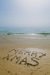 Merry Xmas Message on a Tropical Beach