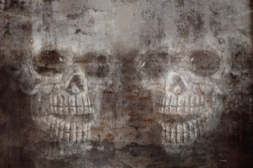 skull on cracked concrete and grunge  wall  background.