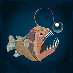 Angler fish or monkfish with lantern on the textured dark background. Lophius piscatorius.