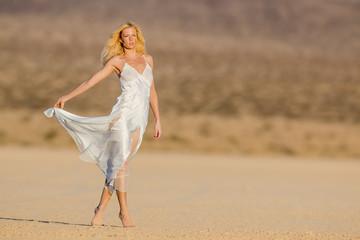 Blonde Model in Desert
