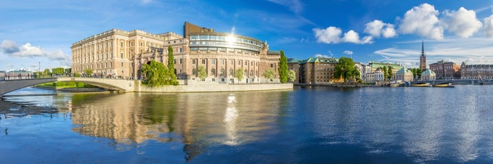 Panoramic view of the Parliament House in Stockholm, Sweden