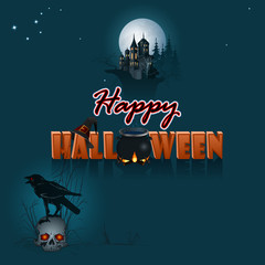 Happy Halloween, graphic background with castle silhouette in the full moon light; Holidays, template with moonlight scene, Halloween three-dimensional text and a skull wearing a raven on top