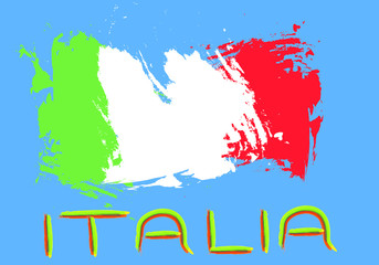 Italy flag in painting style