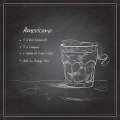 coctail americano on black board