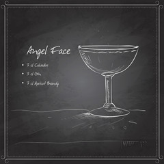 coctail angel face on black board