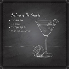 coctail Between the Sheets on black board