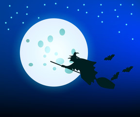The witch flying on a broom on background of the moon. Night sky, full moon. Picture on Halloween. The bats. Black silhouette. Vector illustration.
