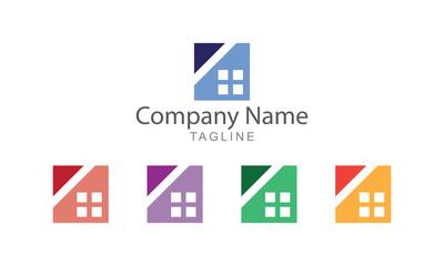 Flat Block Property Logo Vector Business Concept