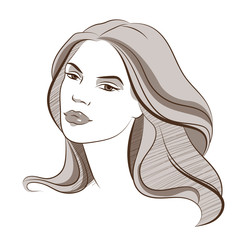 Beautiful female face. Vector colored illustration 4