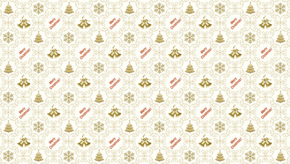 Christmas background  2016 with snowflakes and Christmas trees and christmas bells