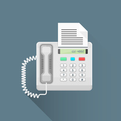vector flat style office fax phone illustration icon.
