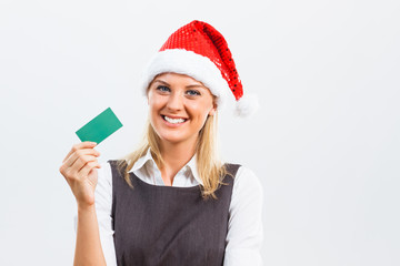 Photo business woman with santa hat holding business card