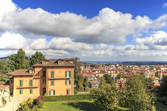 Panoramic view of Biella from the Piazzo: the old part of the city.