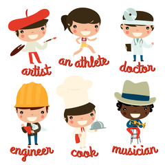 kids professions vector set. artist, athlete, doctor, engineer, cook, musician.
