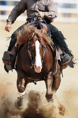 A front view of a rider and horse running ahead in the dust.