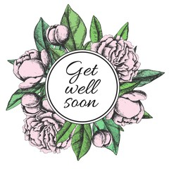 Get well soon. Friendly vector vintage card